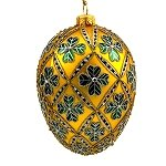 Faberge Inspired- Jeweled Egg Glass Ornament - Four Leaf Clover Green on Gold