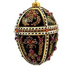 Faberge Inspired- Jeweled Egg Glass Ornament - Black