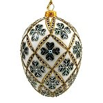 Faberge Inspired- Jeweled Egg Glass Ornament - Four Leaf Clover Green on White